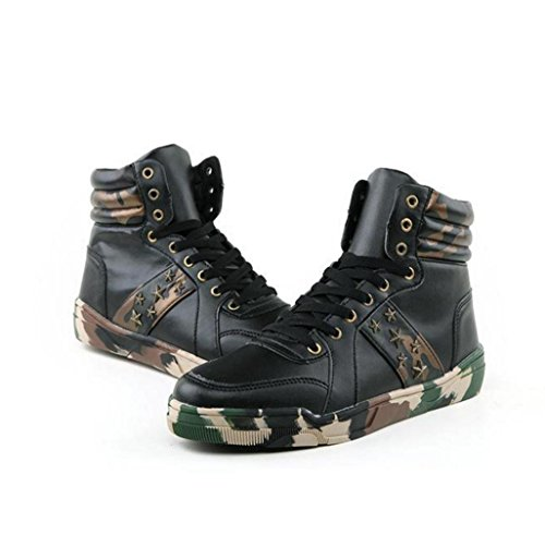 WZG Hommes haute pour aider chaussures de camouflage étudiants occasionnels chaussures de sport chaussures hommes chaussures chaussures en dentelle respirant Black
