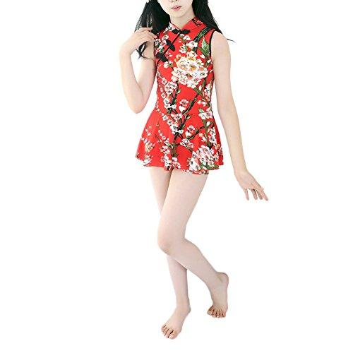 ostüme Qipao chinesischen Stil One Piece Beachwear Bodysuit für 7-12 Jahre kleines Kind (Chinesische Kostüme Kinder)