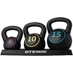 DTX Fitness - Set di kettlebell di diverso peso con supporto - 5 lb, 10 lb e 15 lb (2,26 kg, 4,53 kg e 6,80 kg)