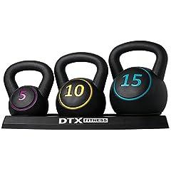 Idea Regalo - DTX Fitness - Set di kettlebell di diverso peso con supporto - 5 lb, 10 lb e 15 lb (2,26 kg, 4,53 kg e 6,80 kg)