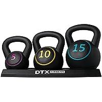 DTX Fitness Kettlebell Weights Set - 5lb (2.3 kg), 10lb (4.5 kg) & 15lb (6.8 kg) Kettlebells & Tray