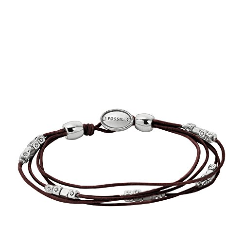 Fossil JA5798040 Ladies Fashion Black Leather Bracelet with Silver Nuggets