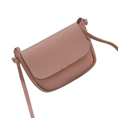 Koly_Nuove donne di modo di cuoio sintetico di spalla dell'arco casuale della borsa (Rosa)
