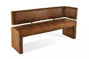 sam esszimmer ottomane lascarlett 130 cm braune wildlederoptik sitzbank mit r ckenlehne aus. Black Bedroom Furniture Sets. Home Design Ideas