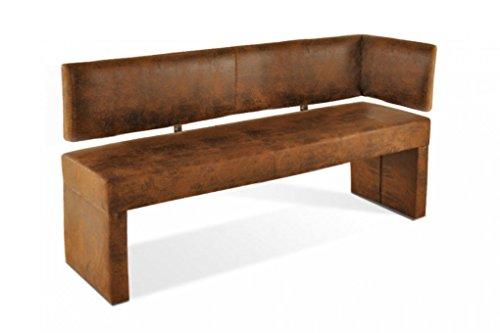 SAM Esszimmer Ottomane Lascarlett, 130 cm, braune Wildlederoptik, Sitzbank mit Rückenlehne aus Samolux®-Bezug, frei im Raum aufstellbare Bank