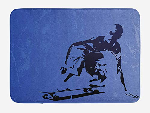 Teenager Bath Mat, Abstract Vector Illustration of a Young Skaterboy Illustration Artwork, Plush Bathroom Decor Mat with Non Slip Backing, 15.7X23.6 inch, Violet Blue Black