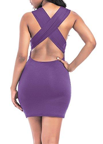 Blansdi Damen Bleistiftkleid V-Ausschnitt Etuikleid Bandage Rückenfrei Bodycon Trägerkleid Stretch Abendkleid Festlich Einfarbig Partykleid Cocktailkleid Lila