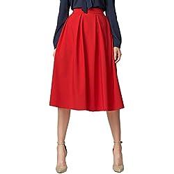 Urban GoCo Mujeres Vintage Falda Midi Plisada A-Line con Bolsillos Faldas Larga Rojo M