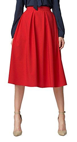 Urban GoCo Mujeres Vintage Falda Midi Plisada A-Line con Bolsillos Faldas Larga Rojo XL