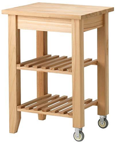 Carrello da cucina Ikea Bekvam in legno massiccio di faggio naturale chiaro con 2 ruote e 2 ripiani 58 x 50 cm da servizio appoggio per affettatrice forno bimbi elettrodomestici robot