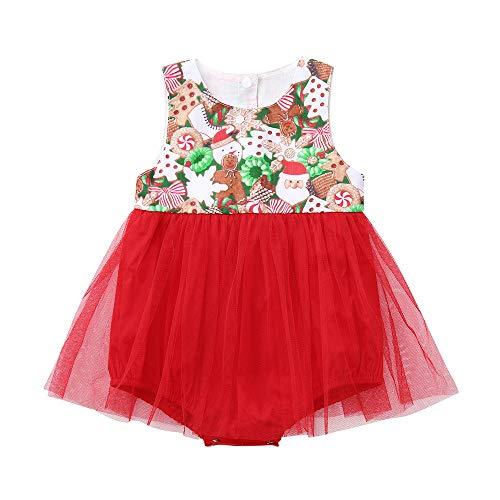 (Neugeborenes Baby Mädchen Weihnachten Weihnachten Cartoon Print Tutu Tüll Strampler Outfits)