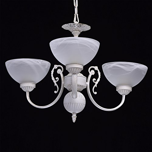 Kronleuchter klein 3-flammig matte weiße Glassichrme klassisch - 3
