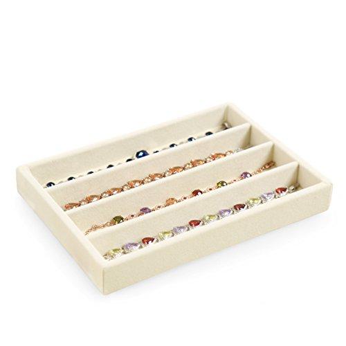 scatola di immagazzinaggio di semplici gioielli/Alta qualità velluto gioielli collana orecchino anello display vassoio/contenitore di orologio di moda-A