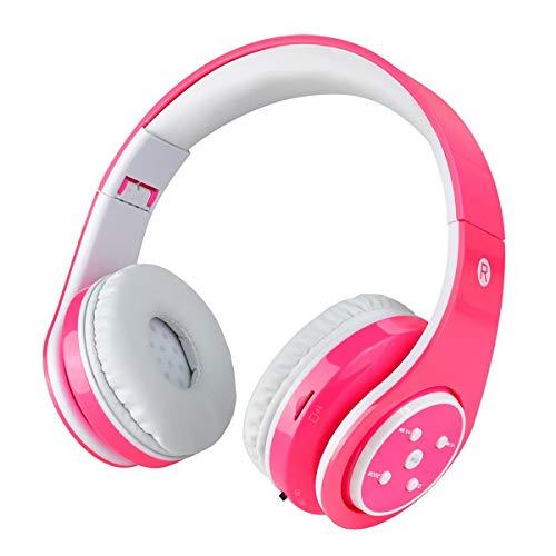 Casque sans fil Bluetooth pour enfants Volume limitant l'écouteur pliable avec microphone Aux in Carte SD pour Smartphone PC Tablette Rose-Votones