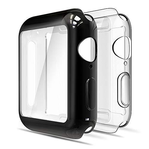 simpeak cover compatibile per apple watch 44mm series 4 2018 series 5 2019(confezione da 2), custodia compatibile con iwatch full protettivo tpu caso tutti i modelli, transparent+nero
