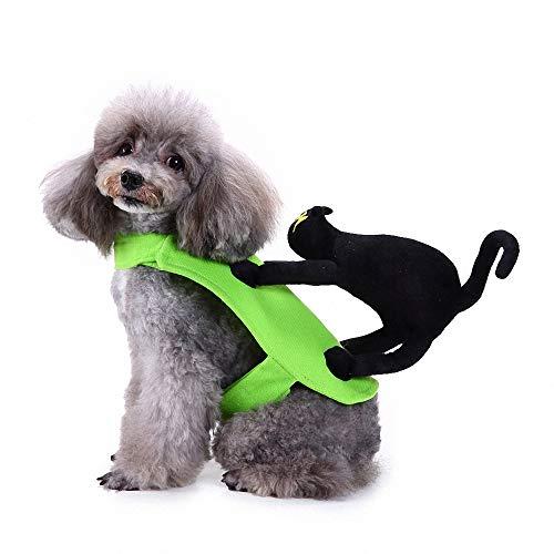 FZ FUTURE Halloween Kätzchen, das einen Hund reitet, Katzen-Puppen-Pullover, Halloween Lustiges Haustier Kostüm, Kleine Hunde Oder Welpen für Halloween Partys Feste-Größe Passend,M