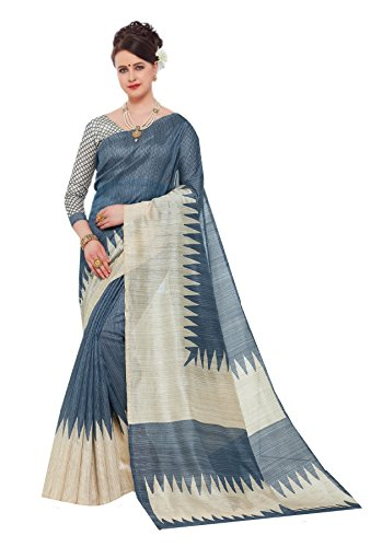 DESIGN WILLA Women's Cotton Saree With Blouse Piece (Cotton Silk37, Multicolor, Free...
