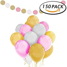 Paquete de 150 globos blancos del partido del látex del oro rosado 12 pulgadas con la guirnalda de papel para las decoraciones de la boda del cumpleaños por Paxcoo