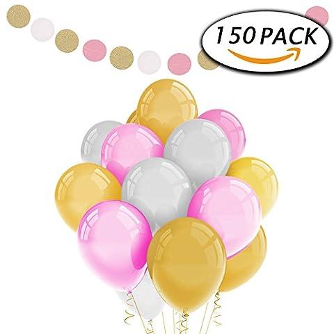 Paquet de 150 Ballons de fête en latex blanc rose 12 pouces avec guirlande de papier pour décorations de mariage d'anniversaire par Paxcoo