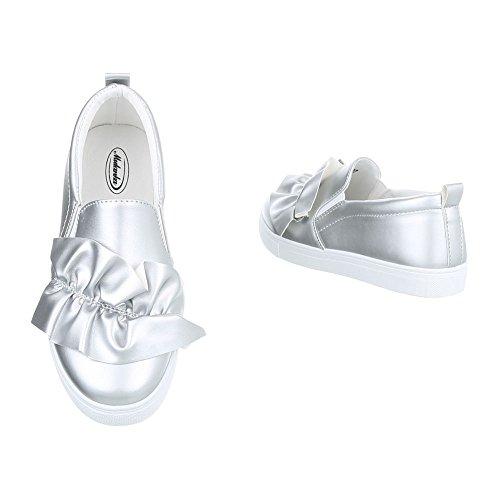 Ital-Design Scarpe da Donna Sneaker Piatto Sneakers Low argento G-26