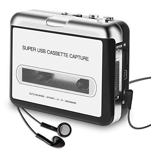 YANGKEE Cassette Player Portable, Kassettenrecorder to MP3 Converter CD Musik/Walkman Tapes Recorder über USB Kompatibel mit Laptops & PC mit Kopfhörer