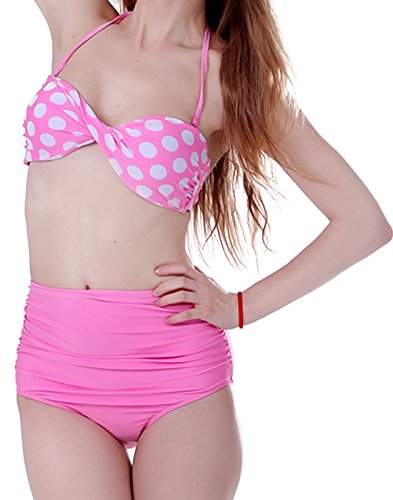 Boolavard Frauen Weinlese 50s Pin Up Girl Rockabilly hohe Taillen Retro Bikini Badeanzug Set (Large/EU 38-40, Pink & White Polka Dot)