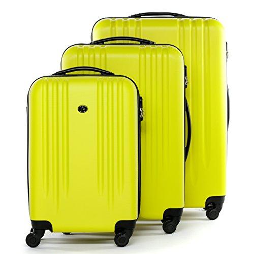 FERGÉ set di 3 valigie viaggio MARSIGLIA - bagaglio rigido dure leggera 3 pezzi valigetta 4 ruote girevole giallo