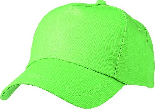 Cappello da baseball 5 pannelli con piastra curva , per Donna e Uomo, Cappello con apertura posteriore regolabile, in verde lima - Lima Cappello