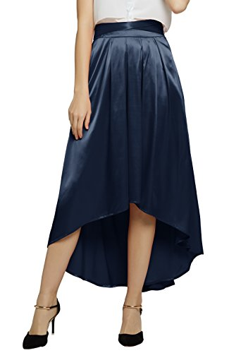 Damen Elegante Satin Bowknot Hi-Lo lange Rock Satin Faltenrock (XL, navy blau)