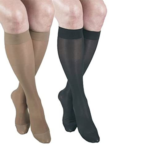 ITA-MED Sheer Knee Highs, Compression (23-30 mmHg) Beige/Black, Medium, 2 Count by ITA-MED by ITA-MED