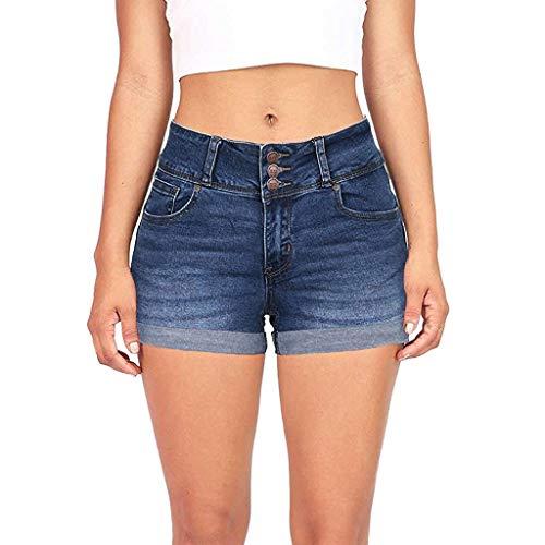 Washed Denim-mini (Lolamber Damen Jeanshosen Low Waisted Washed Solide Kurze Mini Jeans Mode Denim Hosen Shorts)