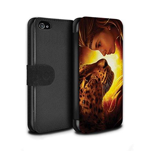 Officiel Elena Dudina Coque/Etui/Housse Cuir PU Case/Cover pour Apple iPhone 4/4S / Minou/Voir Design / Les Animaux Collection Face à Face/Tigre