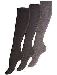 3 Paar Original VCA® Damen Baumwoll Kniestrümpfe, ohne Gummidruck