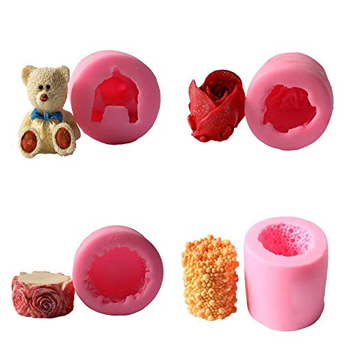 lyward West Point Backen Bär Rose Pearl Zylindrische Kerze 4 Stück Set Fondant Pudding Schokolade Silikonform Rose Point Dessert