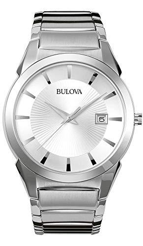 bulova orologio analogico quarzo uomo con cinturino in acciaio inox 96b015
