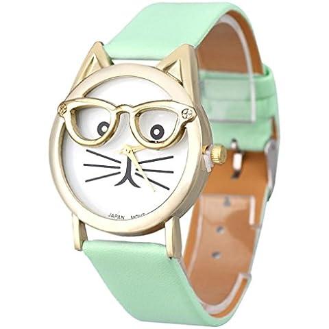 Amlaiworld Orologio da polso per Donne, Vetri svegli del gatto Analogico al quarzo Quadrante orologio da polso (blu) - Quadrante Blu Unisex