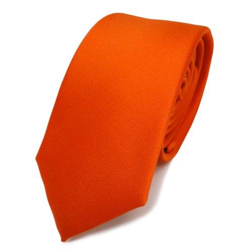 TigerTie schmale Satin Krawatte orange rotorange uni - Binder Schlips Tie Polyester Design-krawatte Tie