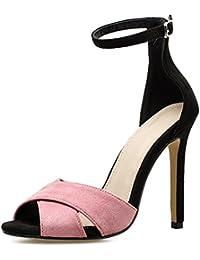 ZWME Nuevo Para Mujer Crossover Strappy Ladies High Heel Stiletto Floral Satén Peep Toe Correa Para El Tobillo Tamaño