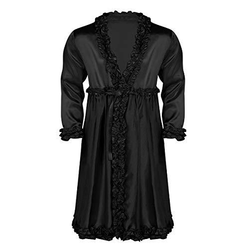 iixpin Herren Spitze Morgenmantel Lang Satin Bademantel Kimono Robe Nachtwäsche V-Ausschnitt Sissy Kleider Schwarz X-Large -