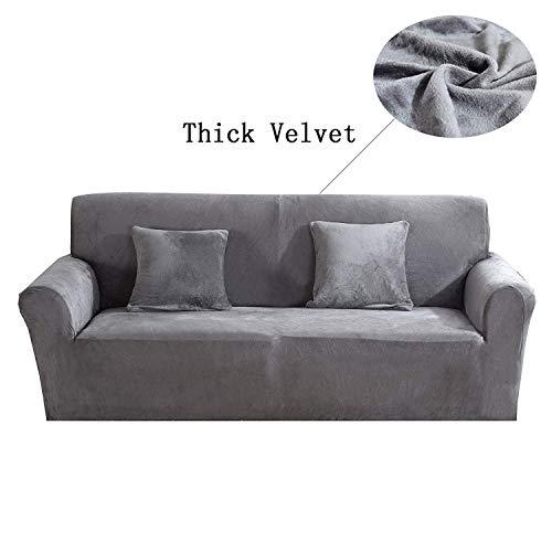 Copridivano Spesso per sofà a 1/2/3/4 posti, colorato, in Tessuto Elasticizzato Vellutato per Un'aderenza Perfetta e Facile Size 2 Seater(145-185cm) (Cenere d'Argento)