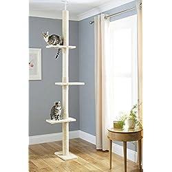 Árbol Rascador para Gatos, Rascador de suelo a techo para gatos, Poste escalador de Sisal Natural, Árbol para Gatos Extensible, Arbol Rascador de actividades con Poste para Gato, Color Beige