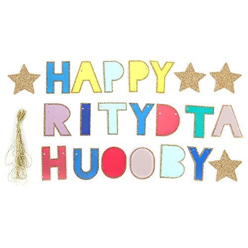 Simlug Bunte Banner für Party Dekoration, Happy Brithday Party Banner Zubehör für Hochzeitsfeier Dekoration