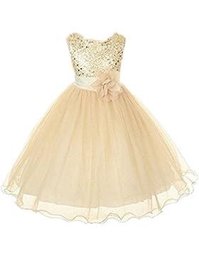 Live It Style It - Abito da principessa senza maniche, con paillettes e fiore, formale, per festa di nozze, damigella...