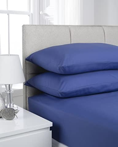 Hamilton McBride 68 Pick Polycotton French Blue King Size Fitted Sheet (Pillowcases Sold Separately)
