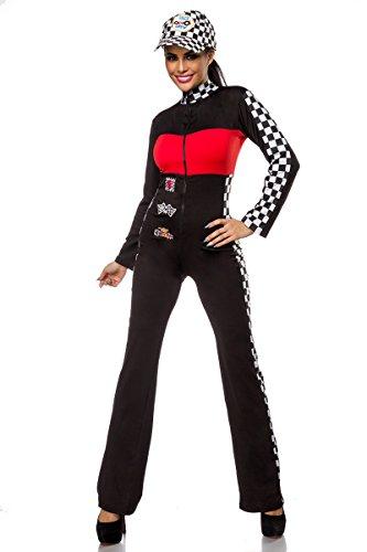 Kostüm Grid Girl - Rennfahrerin Kostüm oder Grid Girl Overall (M/L, Schwarz/Weiß/Rot)