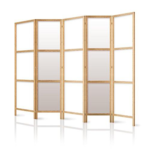 murando - Biombo XXL 225x171 cm - 5 Paneles Lienzo de Tejido no Tejido Tela sintética - Separador - Madera - Design - de Moda - Hecho a Mano - Deco - Japón p-A-0009-z-c