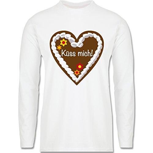 Oktoberfest Herren - Lebkuchenherz Küss mich - Longsleeve / langärmeliges T-Shirt für Herren Weiß