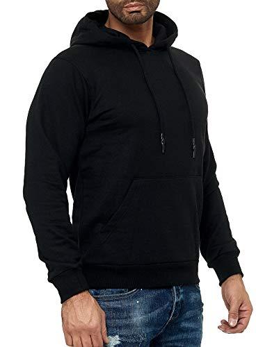 Smith & Solo Herren Kapuzenpullover - Sweatshirt Pullover Rundhals - Langarm - Slim - Fit - Training - Hoodie - Pulli - Hochwertige Baumwollmischung Männer, Schwarz-kapuze, M