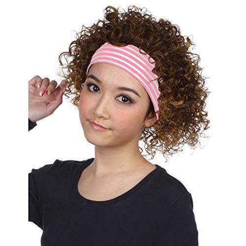 AX- wig Perücke Perücken Hochtemperatur Seide Kurze lockige Haare Flauschige Explosion Kopf Damen halbe Perücke -