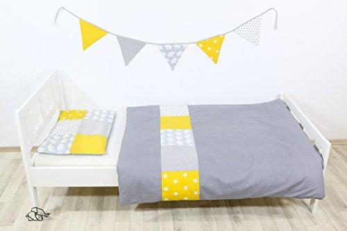 ULLENBOOM ® Kinderbettwäsche Set Elefant Gelb (2tlg. Bettset: Kissenbezug 40x60 cm & Bettdeckenbezug 100x135 cm, Motiv: Sterne, Patchwork)